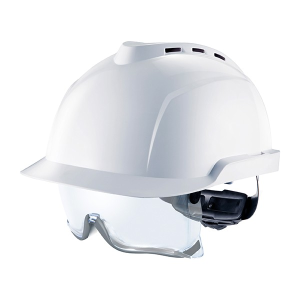 Casco ventilado con gafa de seguridad escamoteable integradas V-Gard 930. Color blanco