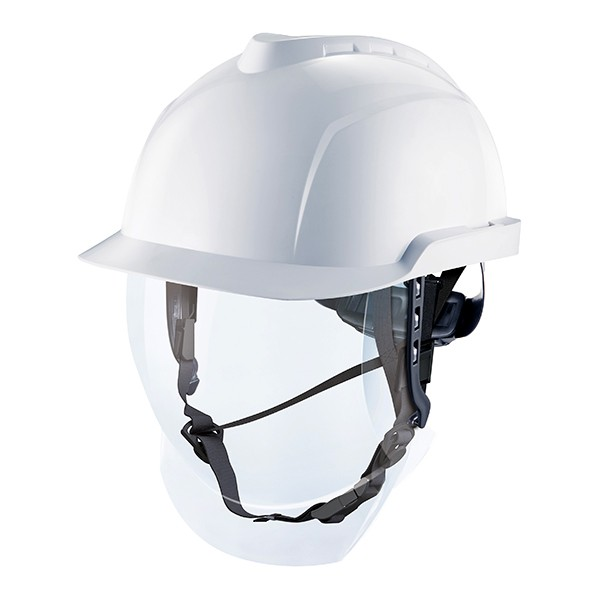 Casco para electricistas no ventilado con pantalla de seguridad escamoteable V-Gard 950. Color blanco